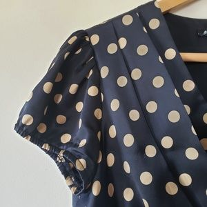 BETSEY JOHNSON Silk Black & Gold Polka Dot Satin D